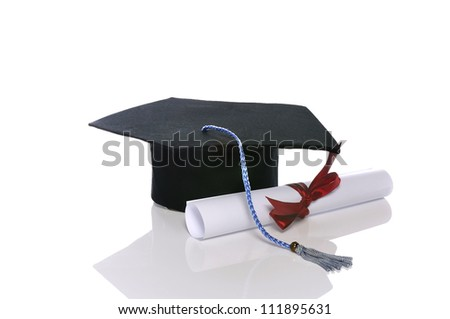 Graduation cap and scroll isolated over white background - stock photo