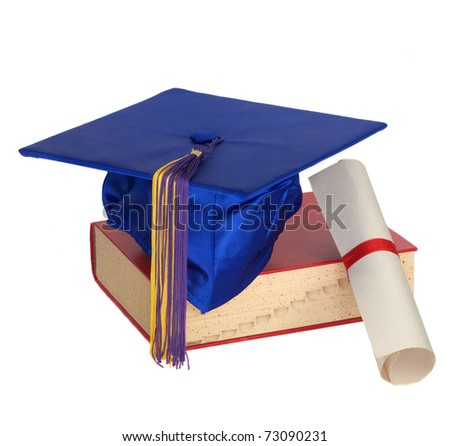 Graduation cap, book and scroll wrapped in a ribbon isolated on white. - stock photo