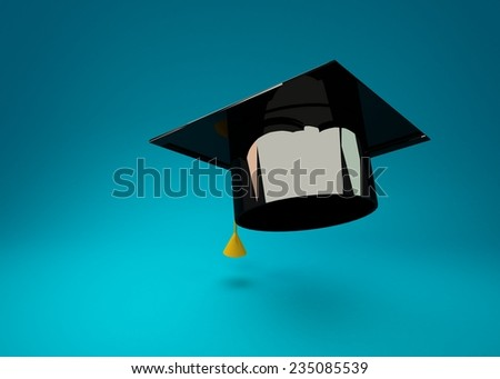 Graduation Cap 3d rendering on blue background