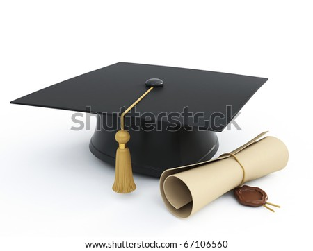 graduation cap diploma isolated on a white background - stock photo