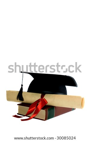 graduation cap, diploma with red ribbon on encyclopedia, copy space, white background - stock photo
