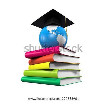 Graduation Cap, Globe and Books - stock photo