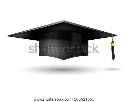 Graduation Cap  isolated on white background - stock photo