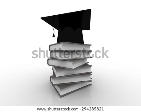 Graduation Cap on Book Stack 3d - stock photo