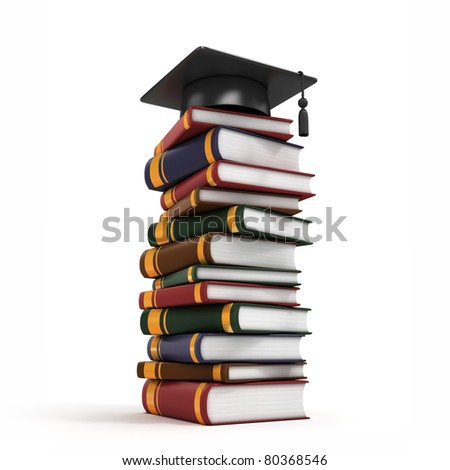 Graduation Cap on Book Stack 3d - stock photo