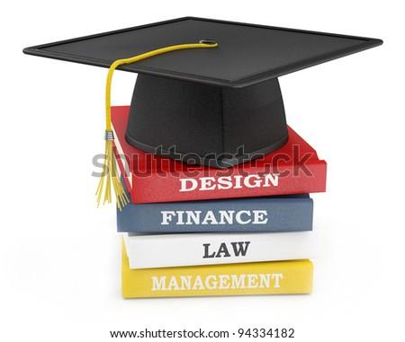 Graduation cap on books. Education concept - stock photo