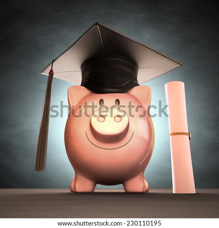 Graduation cap on piggy bank. Concept of saving money to the graduation day. Clipping path included. - stock photo