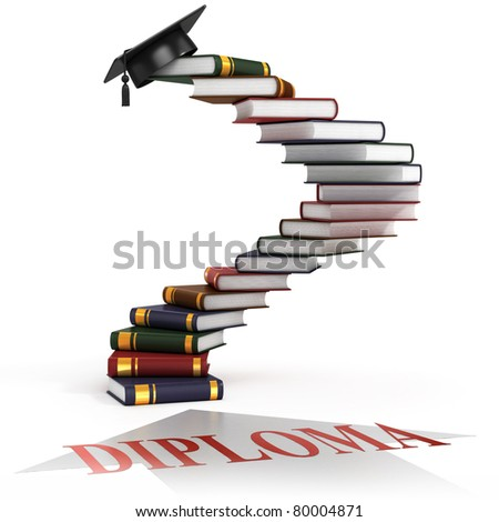 graduation cap on the top of the stairs made of books - diploma 3d concept - stock photo