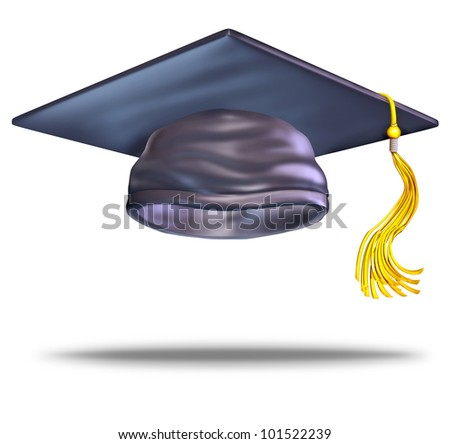 Graduation cap or mortar board with a gold tassel on a blank white background as a symbol of education of higher learning from university and college as a celebration of the achievement of learning.