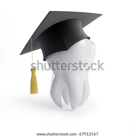 graduation cap tooth on a white background - stock photo