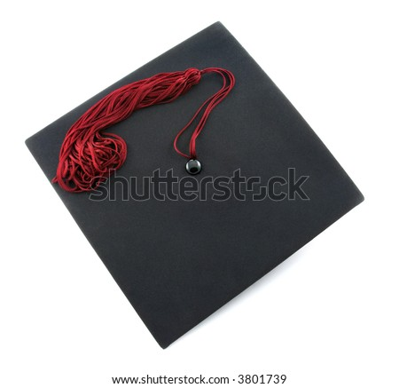 graduation cap with a red tassel isolated on white background - stock photo