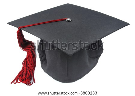 graduation cap with a red tassel on white background