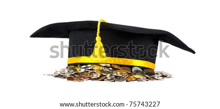 Graduation cap with coins, career concept. Isolated on white - stock photo