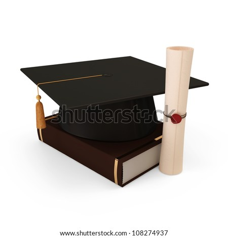 graduation cap with diploma and book isolated on white background