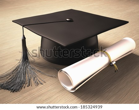 Graduation cap with diploma over the table. Clipping path included. - stock photo
