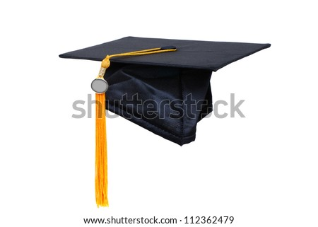 graduation cap with gold tassel - stock photo