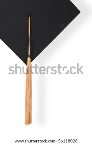 Graduation Cap with gold tassel on the white isolated