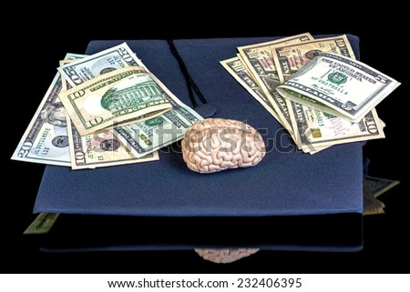Graduation cap with money and a brain
