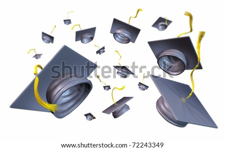 Graduation caps and mortar boards thrown in the air celebrating the completion of the graduating students college studies and school exams. - stock photo