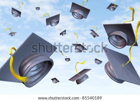 Graduation caps thrown in the air as a celebration with a traditional hat toss for the graduate university and college students featuring a black velvet mortar-board and gold lace. - stock photo
