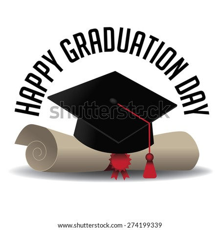 Graduation Day icon royalty free stock illustration for greeting card, ad, promotion, poster, flier, blog, article, social media, marketing