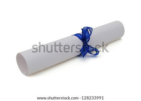 Graduation diploma scroll tied with blue ribbon isolated on white background - stock photo