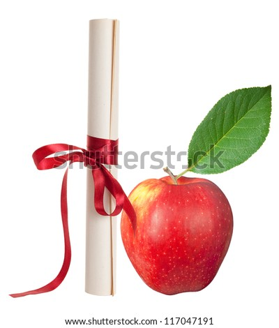 Graduation diploma scroll with red apple - stock photo