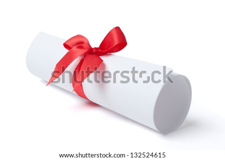 Graduation diploma with red ribbon, isolated on white. Symbol of successful graduation - stock photo