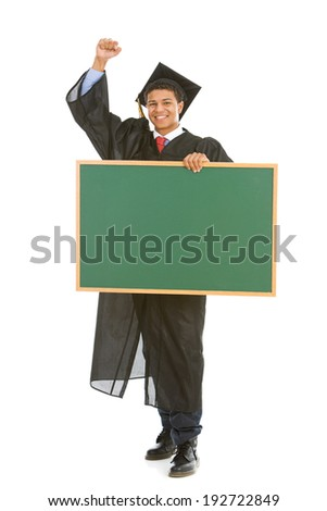 Graduation: Excited Graduate Holding Blank Chalkboard - stock photo