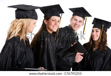 Graduation: Group Of Graduates with Female Looking Back