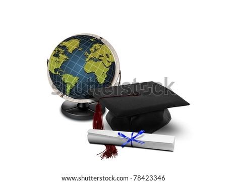 Graduation hat and globe - stock photo