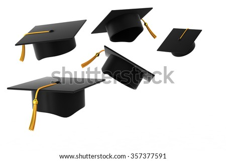 Graduation Hat Fly Academy School on white background