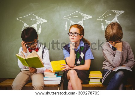 Graduation hat vector against kids with stack of books in classroom - stock photo