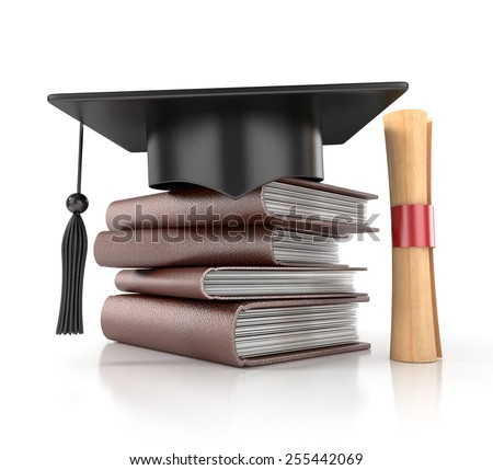 Graduation Hat with Books and Diploma. 3d render - stock photo