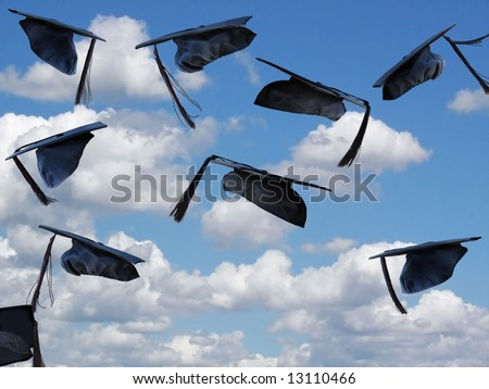 graduation hats airborne - stock photo