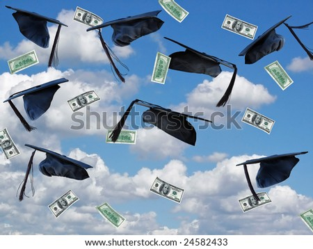 graduation hats and money in sky - stock photo