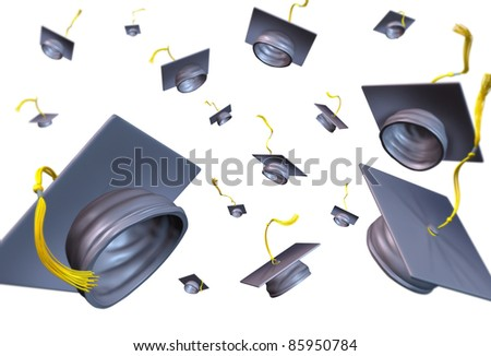 Graduation hats thrown in the air as a celebration with a traditional hat toss for the graduate university and college students featuring a black velvet mortar-board and gold lace. - stock photo