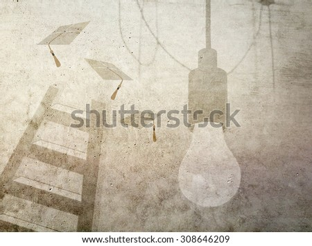 Graduation hats up a ladder with light bulb on grunge wall. Concept of achieving educational and school goals - stock photo