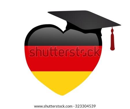 graduation heart with german flag - stock photo