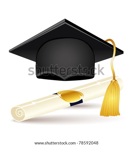 Graduation icons set. Cap and diploma.