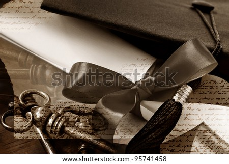 Graduation montage in sepia tones.Photos blended together include macro images of graduation cap, diploma with ribbon, skeleton keys, and textured paper with non legible script writing.