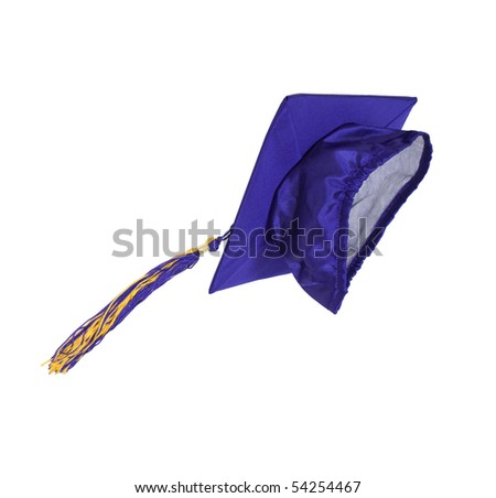 Graduation mortar board with tassel thrown used during ceremonies - path included - stock photo