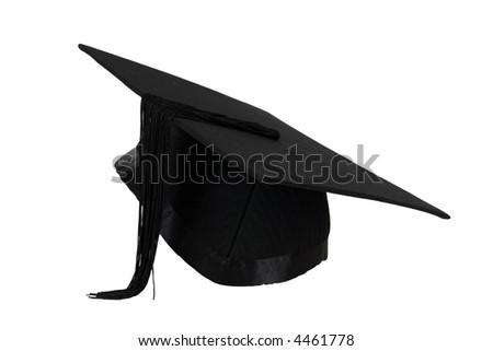 Graduation mortar isolated over white background.