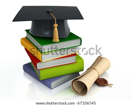 Graduation mortar on top of books - stock photo