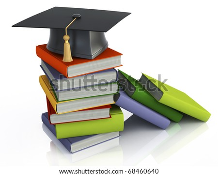 Graduation mortar on top of books