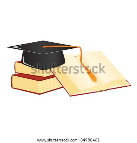 Graduation mortar on top of books. - stock photo