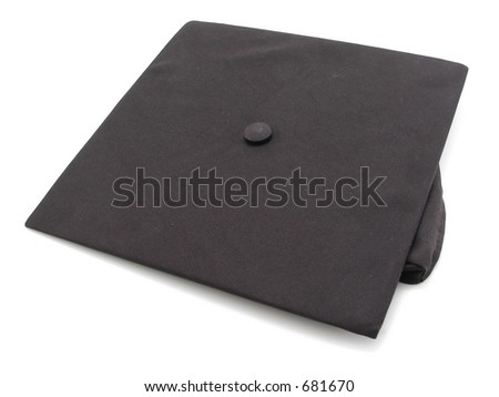 Graduation Mortarboard isolated on a white background - stock photo