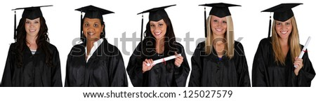Graduation of a group of women dressed in a black gown - stock photo