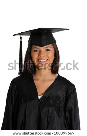 Graduation of a teenage girl on white background