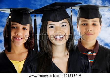 Graduation of a teenage girls and boy - stock photo